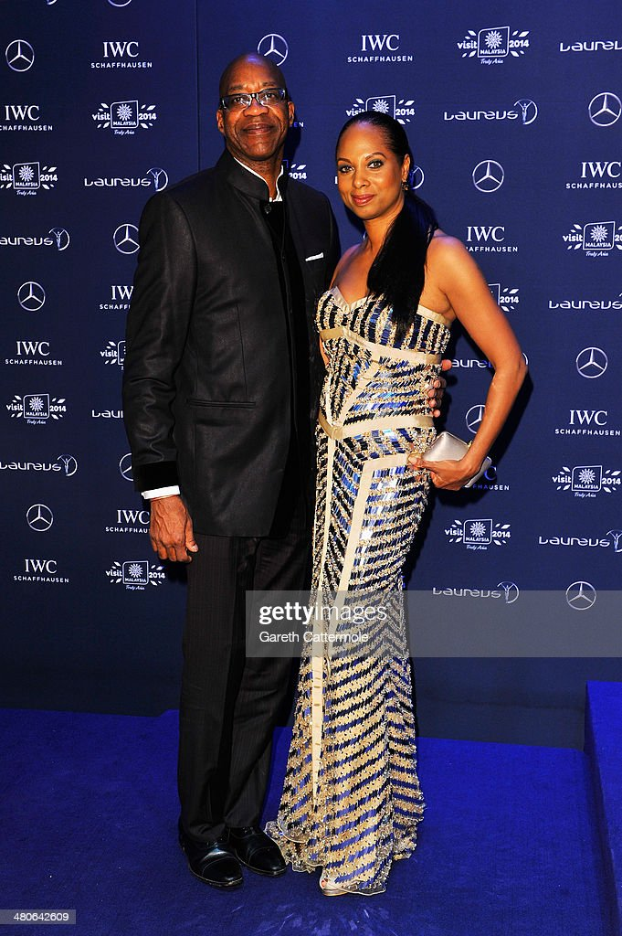 Laureus Academy Chairman Edwin Moses and wife Michelle attend the 2014 Laureus World Sports Awards at the Istana Budaya Theatre on March 26, 2014 in Kuala Lumpur, Malaysia.