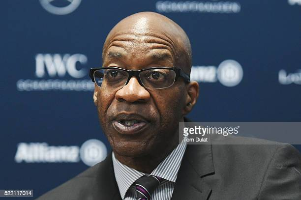 Laureus Academy Chairman Edwin Moses is interviewed prior to the 2016 Laureus World Sports Awards at Messe Berlin on April 18 2016 in Berlin Germany