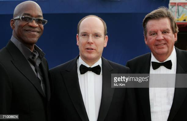Laureus Academy Chairman Edwin Moses Prince Albert of Monaco and Chairman of Richemont Johann Ruper at the Laureus World Sports Awards held at the...