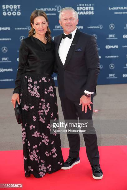 Laureus Academy Chairman Laureus Academy Chairman Sean Fitzpatrick and guest arrive during the 2019 Laureus World Sports Awards on February 18 2019...