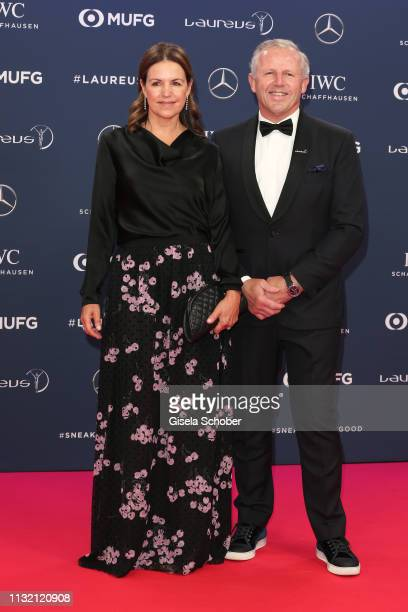 Laureus Academy Chairman Laureus Academy Chairman Sean Fitzpatrick and his wife Bronwyn Fitzpatrick during the Laureus World Sports Awards 2019 at...