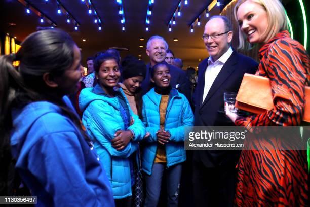 Laureus Academy Chairman Sean Fitzpatrick and Albert II Prince of Monaco and co host Amanda Davies with Neeta Kumari Hema Kumari Konika Kumari Radha...