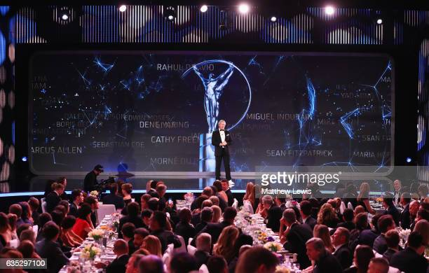 Laureus Academy Chairman Sean Fitzpatrick speaks onstage during the 2017 Laureus World Sports Awards at the Salle des EtoilesSporting Monte Carlo on...