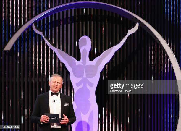 Laureus Academy Chairman Sean Fitzpatrick talks on stage during the 2017 Laureus World Sports Awards at the Salle des EtoilesSporting Monte Carlo on...