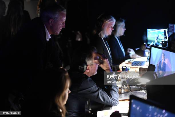 Laureus Academy Chairman Sean Fitzpatrick watches the show on a monitor backstage during the 2020 Laureus World Sports Awards at Verti Music Hall on...