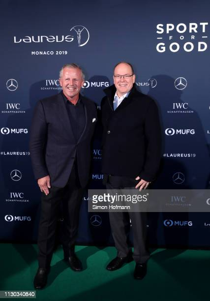 Laureus Academy Chairman Sean Fitzpatrick with Albert II Prince of Monaco arrive during the Laureus Academy Welcome Reception on February 17 2019 in...