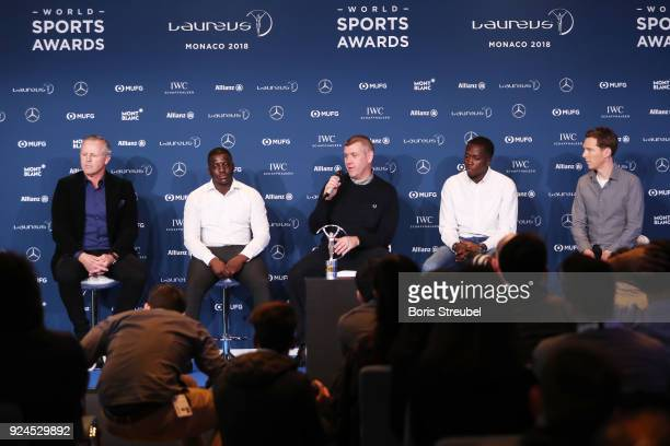 Laureus Academy Chairman Sean Fitzpatrick with Laureus Sport For Good Award winners Gary Stannett Founder of Active Communities Network and Ade...