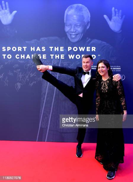 Laureus Academy Member Alexey Nemov and Galina Nemova arrive for the 2019 Laureus World Sports Awards on February 18 2019 in Monaco Monaco