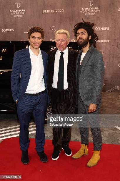 Laureus Academy Member Boris Becker and his sons Elias and Noah attend the 2020 Laureus World Sports Awards at Verti Music Hall on February 17 2020...