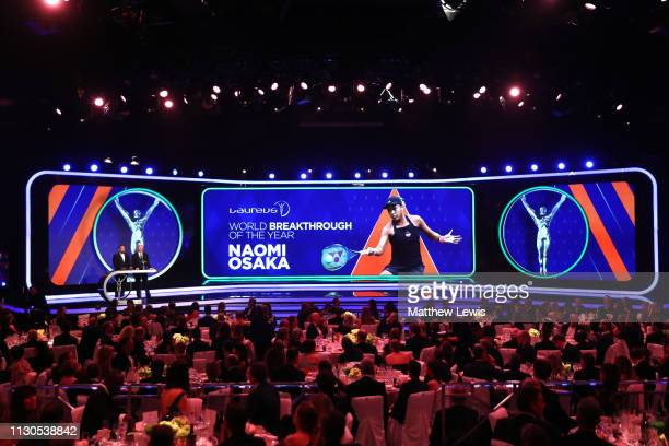 Laureus Academy Member Boris Becker announces the Laureus World Breakthrough of the Year 2019 winner Naomi Osaka on stage with Laureus Ambassador...