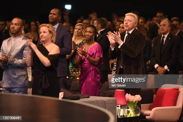 Laureus Academy Member Boris Becker claps his hands during the 2020 Laureus World Sports Awards at Verti Music Hall on February 17 2020 in Berlin...