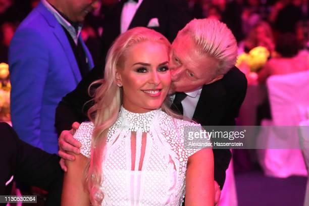 Laureus Academy Member Boris Becker greets Laureus World Comeback Of The Year 2019 Nominee Lindsey Vonn during the 2019 Laureus World Sports Awards...