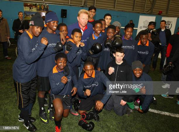 Laureus Academy member Boris Becker poses with attends the Laureus Sport for Good Youth Festival at Millwall Football Club's Lions Centre ahead of...