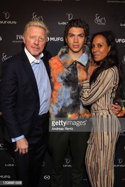 Laureus Academy Member Boris Becker with son Elias Becker and Barbara Becker attend She's Mercedes prior to the 2020 Laureus World Sports Awards on...