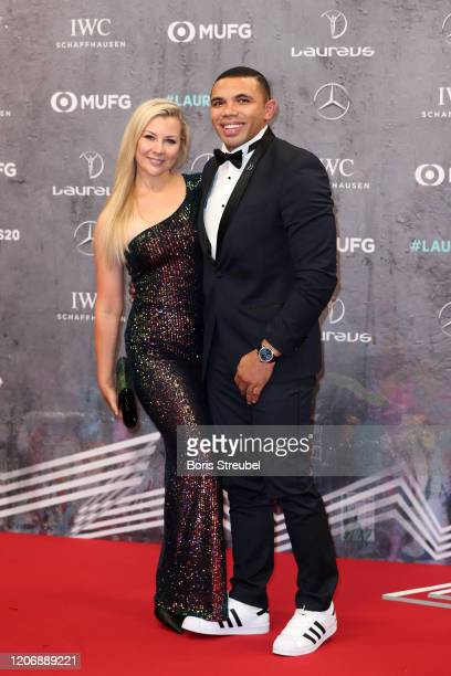 Laureus Academy Member Bryan Habana and his wife Janine Viljoen attend the 2020 Laureus World Sports Awards at Verti Music Hall on February 17 2020...