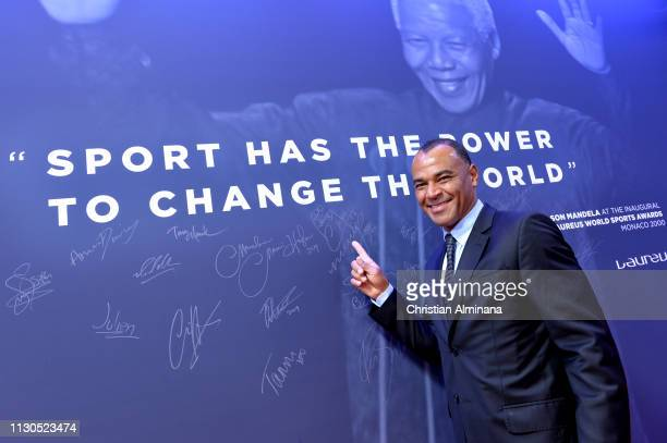 Laureus Academy Member Cafu at the Nelson Mandela wall during the 2019 Laureus World Sports Awards on February 18 2019 in Monaco Monaco