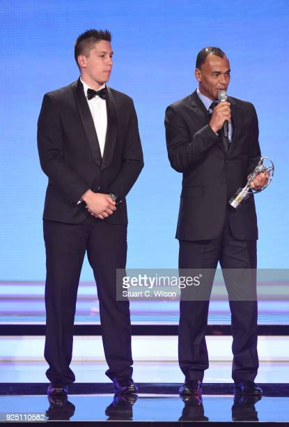 Laureus Academy member Cafu speaks as he hands Jackson Follmann of Chapecoense the award for Laureus Best Sporting Moment of The Year 2018 during the...
