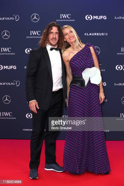 Laureus Academy Member Carles Puyol and Vanessa Nadales arrives for the 2019 Laureus World Sports Awards on February 18 2019 in Monaco Monaco