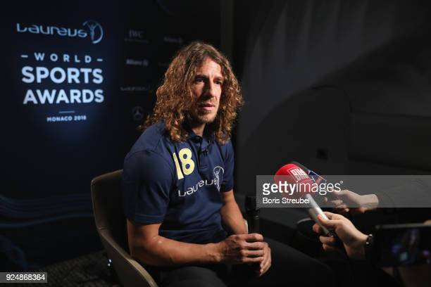 Laureus Academy member Carles Puyol is interviewed prior to the Laureus World Sports Awards at the Meridien Beach Plaza on February 27 2018 in Monaco...