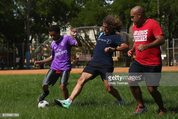 Laureus Academy Member Carles Puyol visits a Laureussupported Up2Us Sports project ahead of El Clasico on July 28 2017 in Miami Florida