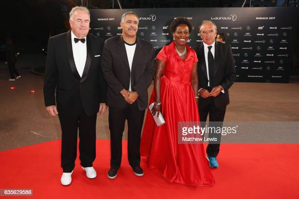 Laureus Academy member Daley Thompson and Laureus Academy member Hugo Porta attend the 2017 Laureus World Sports Awards at the Salle des...