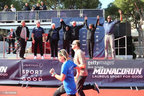Laureus Academy Member Daley ThompsonLaureus Academy Chairman Sean Fitzpatrick with Laureus Academy Members Daley ThompsonDawn Fraser Tegla...