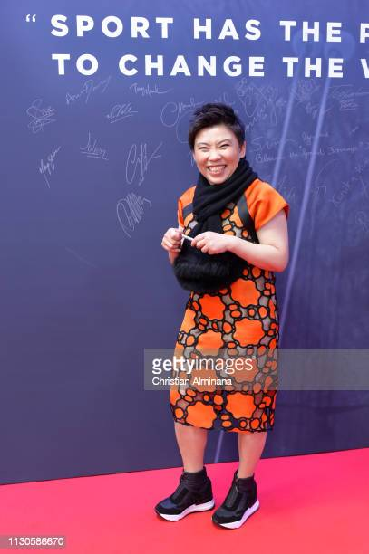 Laureus Academy Member Deng Yaping by the wall area during the 2019 Laureus World Sports Awards on February 18 2019 in Monaco Monaco
