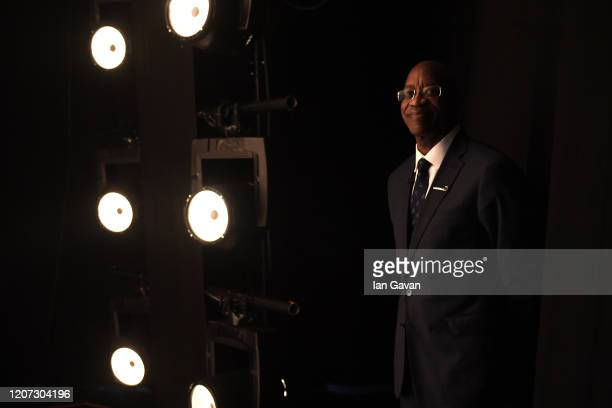 Laureus Academy Member Edwin Moses smiles backstage during the 2020 Laureus World Sports Awards at Verti Music Hall on February 17 2020 in Berlin...