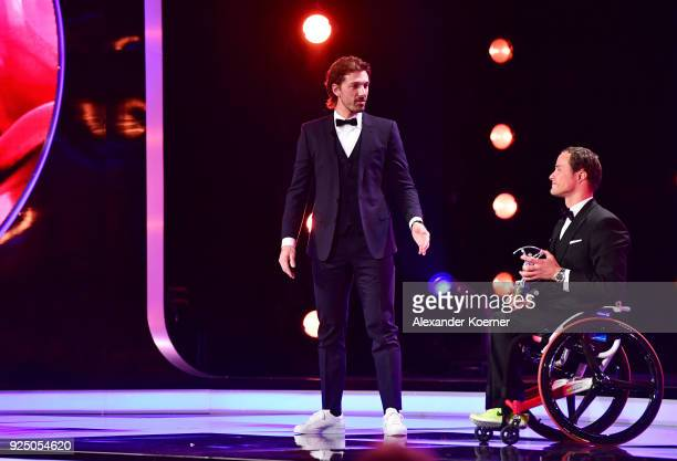 Laureus Academy Member Fabian Cancellara speaks on stage as he gives Marcel Hug the award for Laureus World Sportsperson of the Year with a Disabilty...