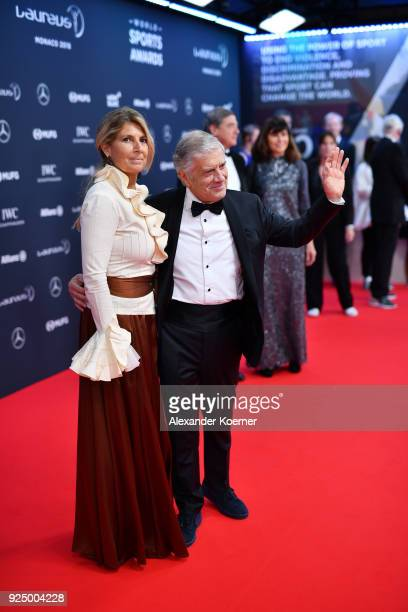 Laureus Academy member Giacomo Agostini and guest attend the 2018 Laureus World Sports Awards at Salle des Etoiles Sporting MonteCarlo on February 27...