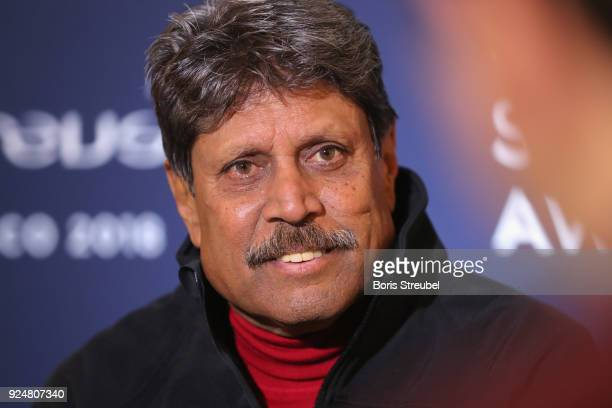 Laureus Academy member Kapil Dev is interviewed prior to the Laureus World Sports Awards at the Meridien Beach Plaza on February 27 2018 in Monaco...