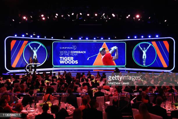 Laureus Academy Member Katarina Witt announces the Laureus World Comeback Of The Year 2019 winner Tiger Woods on stage with Laureus Academy Member...