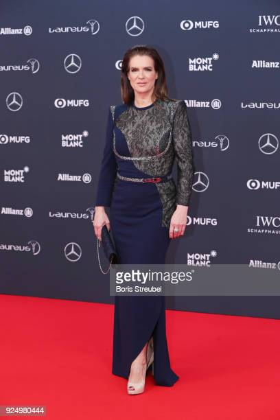 Laureus Academy member Katarina Witt attends the 2018 Laureus World Sports Awards at Salle des Etoiles, Sporting Monte-Carlo on February 27, 2018 in...