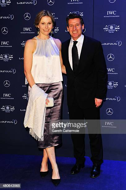 Laureus Academy member Lord Sebastian Coe and guest attend the 2014 Laureus World Sports Awards at the Istana Budaya Theatre on March 26 2014 in...