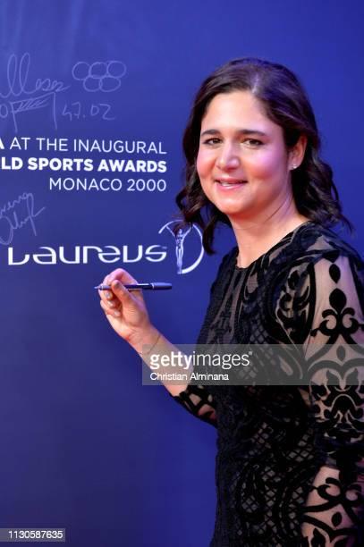 Laureus Academy Member Lorena Ochoa signs the wall during the 2019 Laureus World Sports Awards on February 18 2019 in Monaco Monaco