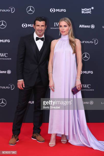 Laureus Academy Member Luis Figo and Helen Svedin attend the 2018 Laureus World Sports Awards at Salle des Etoiles Sporting MonteCarlo on February 27...