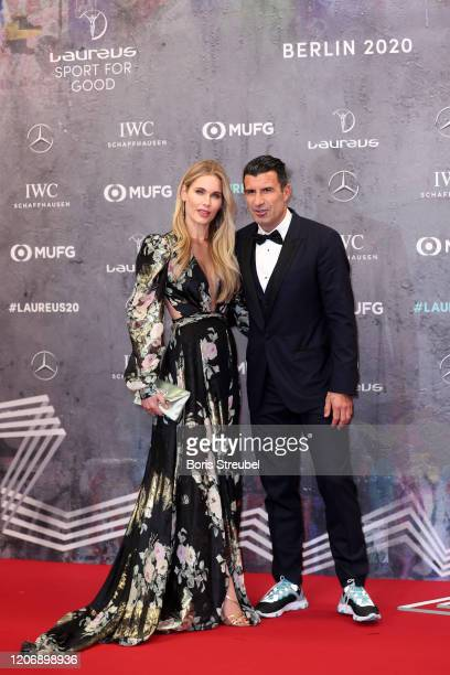 Laureus Academy Member Luis Figo and Helen Svedin attend the 2020 Laureus World Sports Awards at Verti Music Hall on February 17 2020 in Berlin...