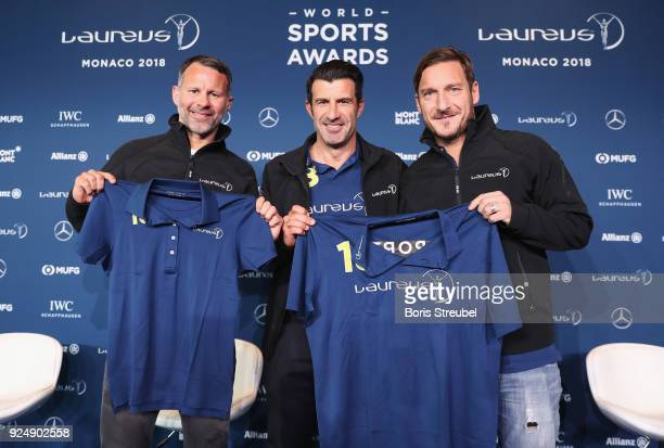 Laureus Academy Member Luis Figo introduces the new Laureus Academy Members Ryan Giggs and Francesco Totti prior to the Laureus World Sports Awards...