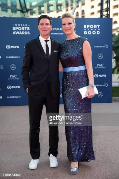 Laureus Academy Member Maria HöflRiesch and her husband Marcus Höfl arrive during the 2019 Laureus World Sports Awards on February 18 2019 in Monaco...