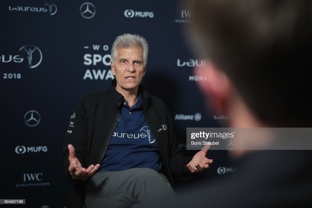 Laureus Academy member Mark Spitz is interviewed prior to the 2018 Laureus World Sports Awards at Le Meridien Beach Plaza Hotel on February 26, 2018 in Monaco, Monaco.
