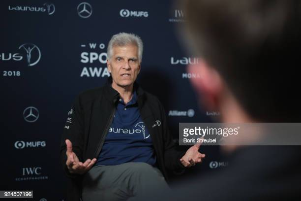 Laureus Academy member Mark Spitz is interviewed prior to the 2018 Laureus World Sports Awards at Le Meridien Beach Plaza Hotel on February 26 2018...