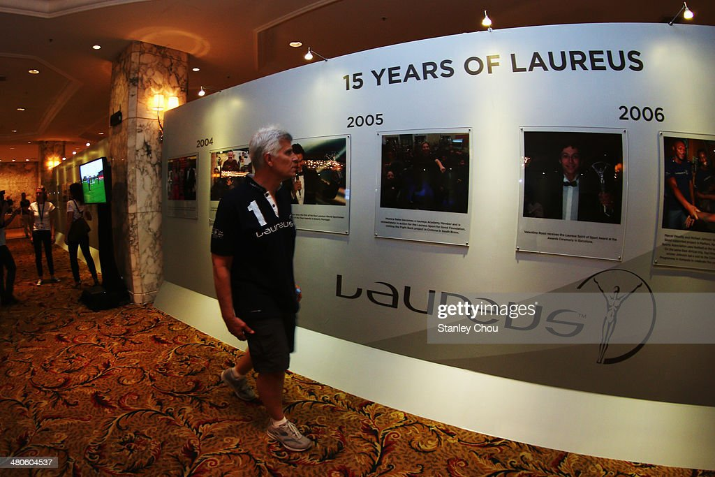 Laureus Academy member Mark Spitz walks round the Fifteen Years of Laureus Exhibition ahead of the 2014 Laureus World Sports Awards at the Shangri-la Hotel on March 26, 2014 in Kuala Lumpur, Malaysia.