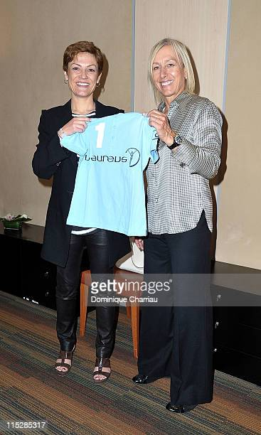 Laureus Academy member Martina Navratilova and French Sports Minister Chantal Jouanno pose as they meet to discuss possible projects in cooperation...