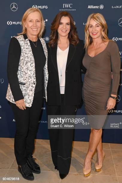Laureus Academy member Martina Navratilova Katarina Witt and Nadia Comaneci attend the Laureus Academy Welcome Reception prior to the 2018 Laureus...