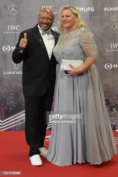 Laureus Academy member Marvelous Marvin Hagler and his wife Kay Guarrera pose on the red carpet prior to the 2020 Laureus World Sports Awards...