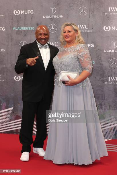 Laureus Academy member Marvelous Marvin Hagler and his wife Kay Guarrera attend the 2020 Laureus World Sports Awards at Verti Music Hall on February...