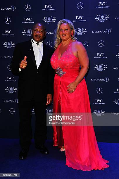 Laureus Academy member Marvelous Marvin Hagler and wife Kay Guarrera attend the 2014 Laureus World Sports Awards at the Istana Budaya Theatre on...