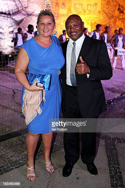 Laureus Academy Member Marvin Hagler and guest attend the Laureus Welcome Party at the Rio Scenarium during the 2013 Laureus World Sports Awards on...