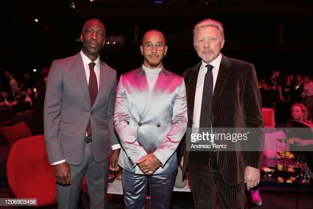 Laureus Academy Member Michael Johnson Laureus World Sportsman of the Year nominee Lewis Hamilton and Laureus Academy Member Boris Becker pose ahead...