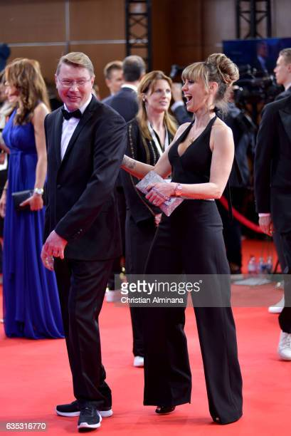 Laureus Academy member Mika Hakkinen and guest attend the 2017 Laureus World Sports Awards at the Salle des EtoilesSporting Monte Carlo on February...